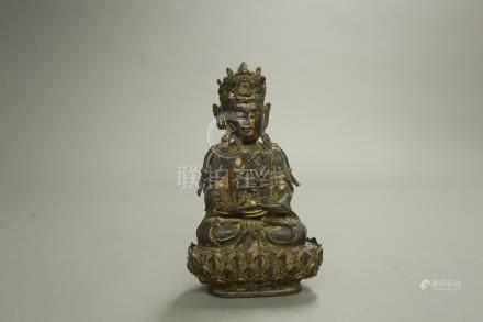 銅漆金菩薩座像