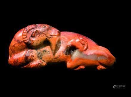 CHINE - Epoque MING  (1368 - 1644)Groupe en néphrite rouille et brune, bouc et