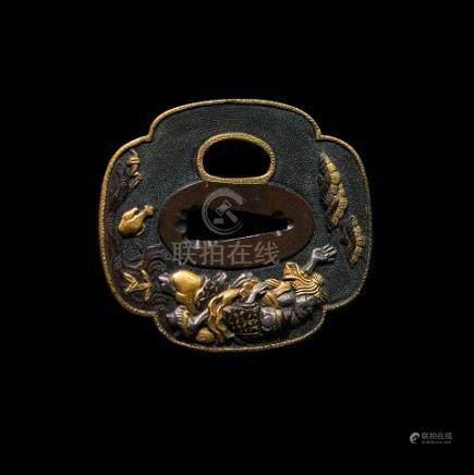 JAPON - Milieu Epoque EDO (1603 - 1868)Mokko gata en shibuichi à fond de nanako