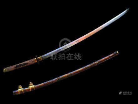 JAPON - Fin XIXe siècleShinshinto katana shinogi zukuri, hamon suguha, fusée pe