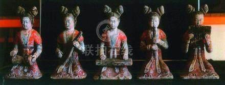 CHINE - Epoque TANG  (618-907)Ensemble de cinq musiciennes assises en terre cui