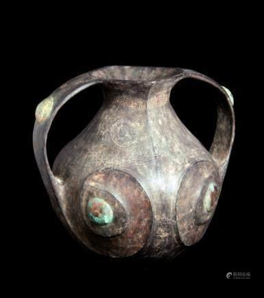 CHINE, Sichuan- Epoque HAN (206 av. JC- 220 ap. JC)Jarre à deux anses en terre