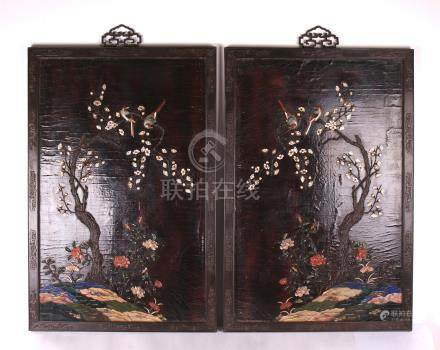PAIR OF CHINESE GEM STONE INLAID MAGPIE ON PLUM HARDWOOD ZITAN WALL SCREEN