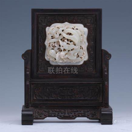 CHINESE PIERCED CARVED WHITE JADE DRAGON INLAID HARDWOOD ZITAN TABLE SCREEN