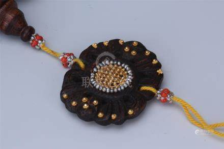 CHINESE GOLD SILVER INLAID AGALWOOD BEAD BUDDHIST BRACELET