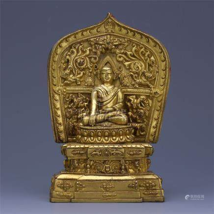 CHINESE GILT BRONZE SEATED SAKYAMUNI BUDDHA