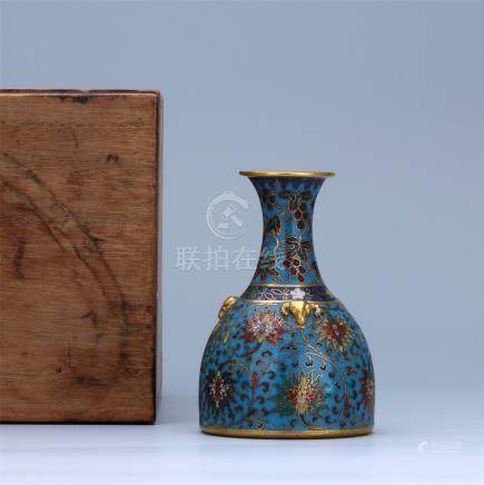 CHINESE CLOISONNE RAM HEAD BELL SHAPED VASE