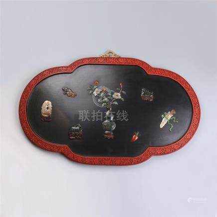CHINESE GEM STONE INLAID LACQUER CINNABAR WALL SCREEN
