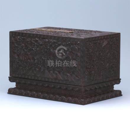 CHINESE HARDWOOD ZITAN DRAGON SQUARE CASE
