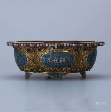 CHINESE GILT SILVER CLOISONNE SQUARE PLANTER