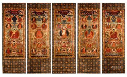 FIVE PANELS OF TIBETAN EMBROIDERY THANGKA OF SEATED BUDDHA