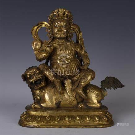 SINO TIBETAN GILT BRONZE SEATED GOD OF WEALTH
