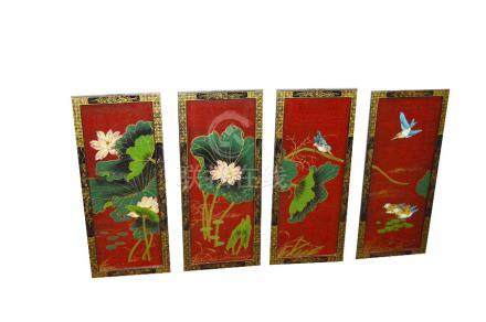 A Set of Four Chinese Lacquer Panels