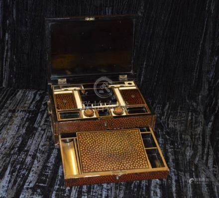 An Early Chinese Export Lacquer Work Box, Early 1800's