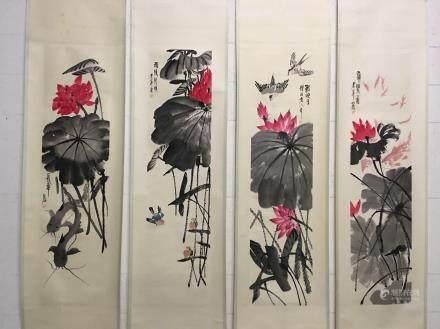 Four Hanging Scrolls Of Lotus