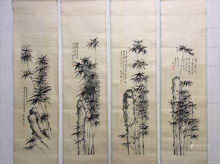 Four Hanging Scrolls Of Bamboo