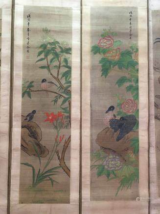 Four Hanging Scrolls Of Flowers And Birds