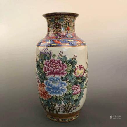 Chinese Famille Rose Porcelain Vase with Qianlong Mark