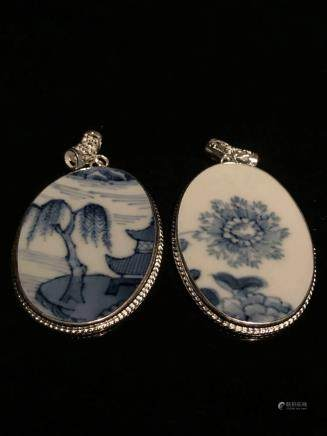 Two Pieces Blue and White Pendant