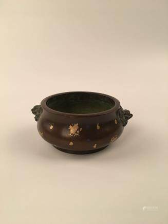 Chinese Brozen Gilt Dots Censer With Beast Head