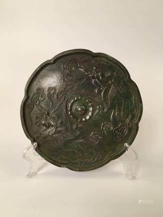 Chinese Brozen Octalobed Mirror