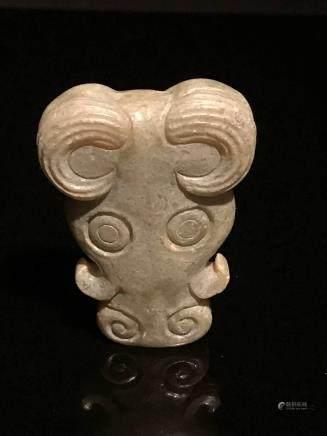 Chinese Old Jade Beast Pendant