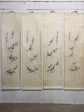 4 Hanging Scrolls of Shrimp Painting with Qi Baishi Mark