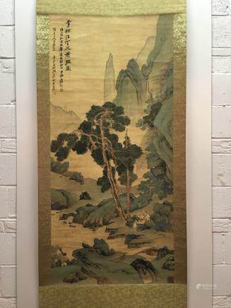 Hanging Scroll of Landscape Painting with A Man resting beside the River