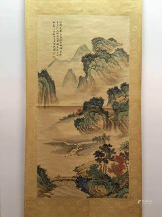 Hanging Scroll of Landscape Painting with Wu Hufan Mark