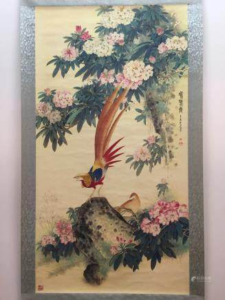 Hanging Scroll of Ji Xiang Tu with Flower and Birds