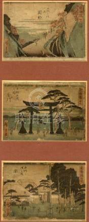 Hiroshige, Utagawa 1797-1858 - Meishoe (Drei kleine Blätter