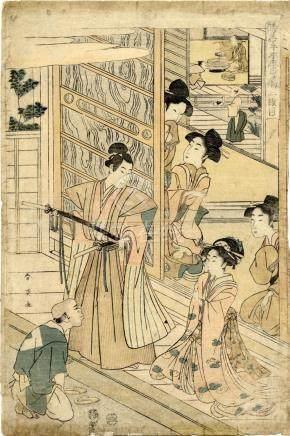 Shunei, Katsukawa tätig 1762-1819 - Bijinga (Oban, dat. 1807