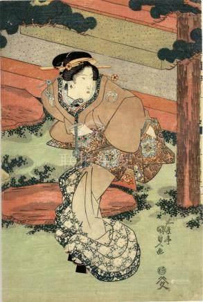 Kunisada, Utagawa 1786-1865 - Bijinga (Oban von einem Mehrbl