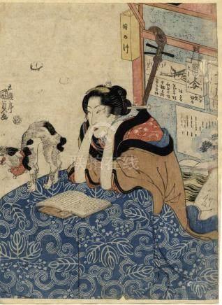 Kunisada, Utagawa 1786-1865 - Bijinga, Aizurie (Oban, 1815-2