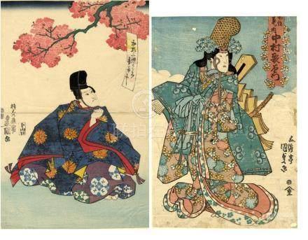 Kunisada, Utagawa 1786-1865 - Konvolut, zwei Kabuki-Blätter