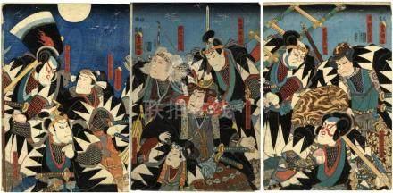 Kunisada, Utagawa 1786-1865 - Schauspieler (Drei Oban aus ei