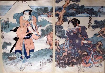 Kunisada, Utagawa 1786-1865 - Kabukie (Zwei Oban von einem T