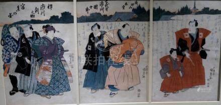 Kunisada, Utagawa 1786-1865 - Schauspieler (Triptychon, dat.