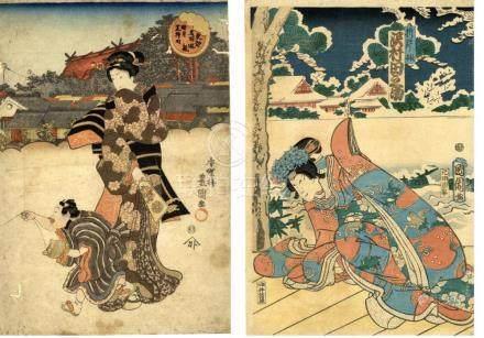 Kunisada und Kunichika - Konvolut, zwei Oban mit schönen Fra