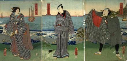 Auf der Bühne des Kabuki-Theaters (Triptychon, dat. 1860)