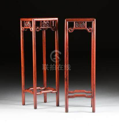 A PAIR OF CHINESE CARVED WOOD PEDESTAL STANDS, MODERN,