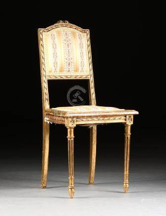 A LOUIS XVI STYLE GILT BEECH AND PINE SALON CHAIR,