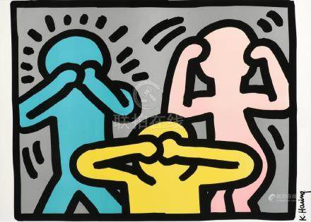 "after KEITH HARING (American 1958-1990) A PRINT, ""Hear"