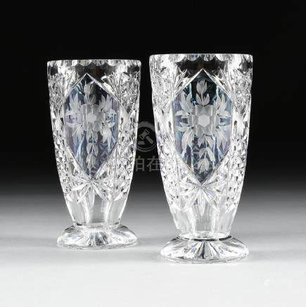 A PAIR OF BOHEMIAN STYLE FLASHED, ETCHED, AND CUT GLASS