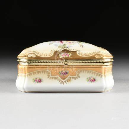 A GERMAN STYLE GILT METAL MOUNTED POLYCHROME ENAMEL AND