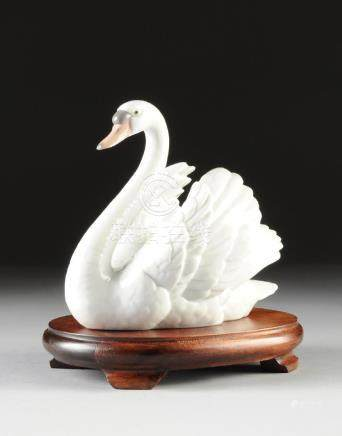 A LLADRO WHITE PORCELAIN SWAN, BLUE AND IMPRESSED