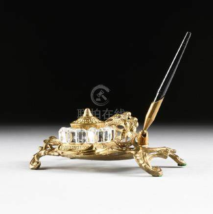 A ROCOCO STYLE BRASS AND GLASS INKSTAND, 20TH CENTURY,