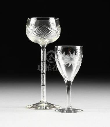 A GROUP OF TWO GLASS WINE STEMS, AMERICAN, 20TH