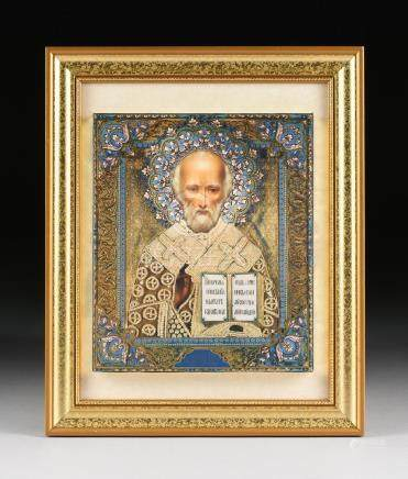 A RUSSIAN PRINT OF ST. NICHOLAS THE MIRACLE WORKER,