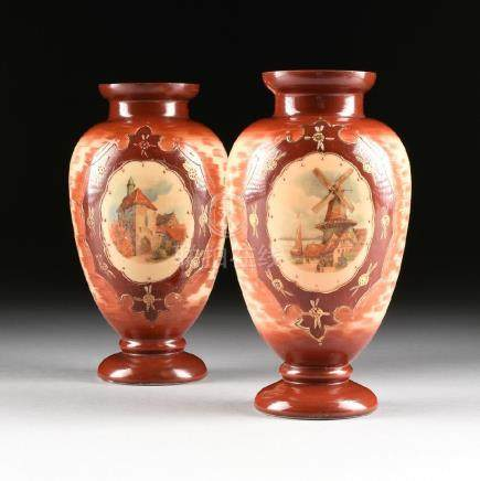 A PAIR OF BRISTOL GLASS TRANSFER PRINTED VASES,